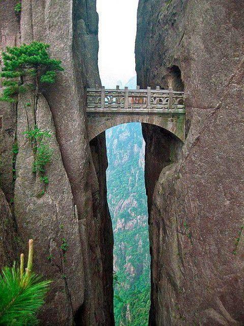 The Bridge of Immortals, China. Very beautiful, but very NOPE.