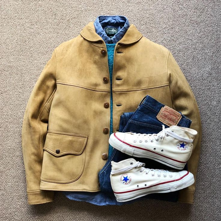 "1,526 Likes, 14 Comments - @the.daily.obsessions on Instagram: ""Today's Outfit. ↓ #RRL Deer Skin Jacket #PeterBlance Shaggy Dog Sweater #GitmanVintage Chambray BD-…"""