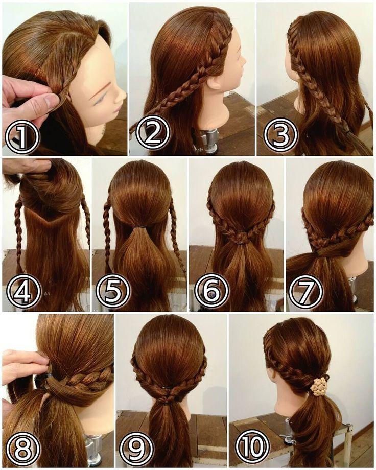 ポニーテールアレンジ  ① フロントから編み込んでいきます。 ② サイドまで編み込んだらその先は三つ編みに。 ③ 反対サイドも同じように編みます。 ④ 残りを耳の高さくらいからV字に上下に分けます。 ⑤ 上の部分の髪を結びます。 ⑥ サイドの三つ編みを後ろで合わせてゴムでまとめます。 ⑦ 残りの下部分の髪を両側からとり後ろで結びます。 ⑧ それをくるりんぱの要領で三つ編みの中へくぐらせます。 ⑨ こんな感じになりました。 ⑩ 毛束をつまみ引き出して柔らかくかたちを整えて飾りゴムをつけたら完成です!  #横浜美容室#ヘアサロン#ヘアエステ#美容室#ヘアアレンジ#ヘアアレンジ解説#ヘアアレンジプロセス#簡単アレンジ#まとめ髪#ヘアスタイル#アンティーク#ポニーテール#ポニーテールアレンジ#ローポニー#編み込み#三つ編み#くるりんぱ#横浜#石川町#元町#nest