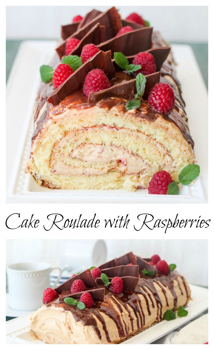 Amazing cake roulade with a dulce de leche cream, raspberry puree and chocolate, lots of chocolate.