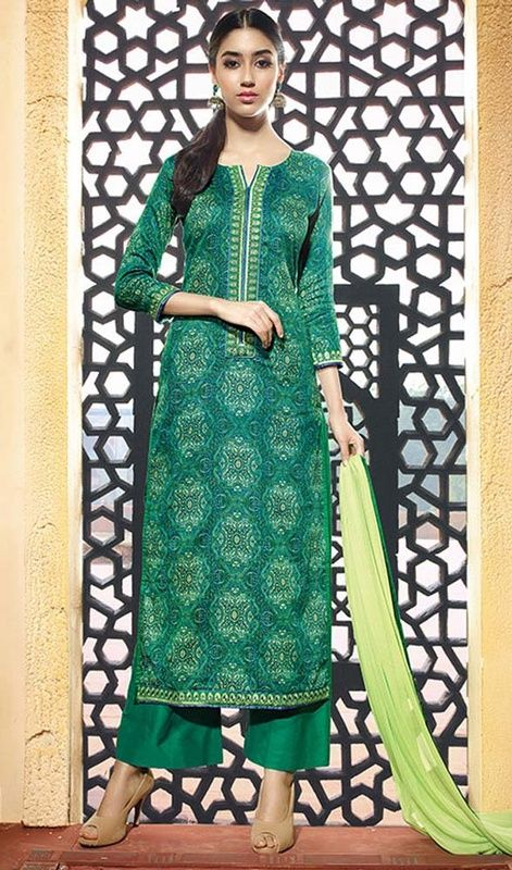 Seek the attention of your onlookers at just a glance with this green color shade cotton printed palazzo dress. This pretty attire is displaying some unbelievable embroidery done with lace and printed work. #greencolordress #cottonpalazzosuits #cottonwears
