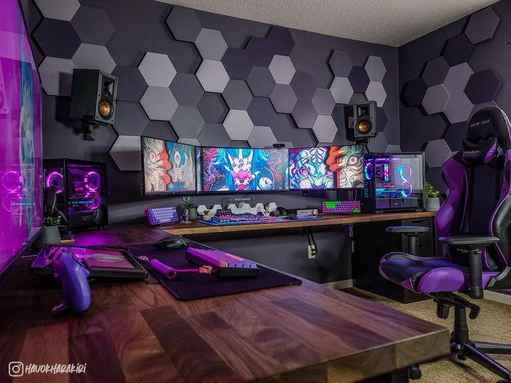 Best Gaming Setup, Gaming Room Setup, Gaming Chair, Cool Gaming Setups, Ultimate Gaming Setup, Pc Setup, Small Game Rooms, Computer Gaming Room, Attic Bedroom Designs