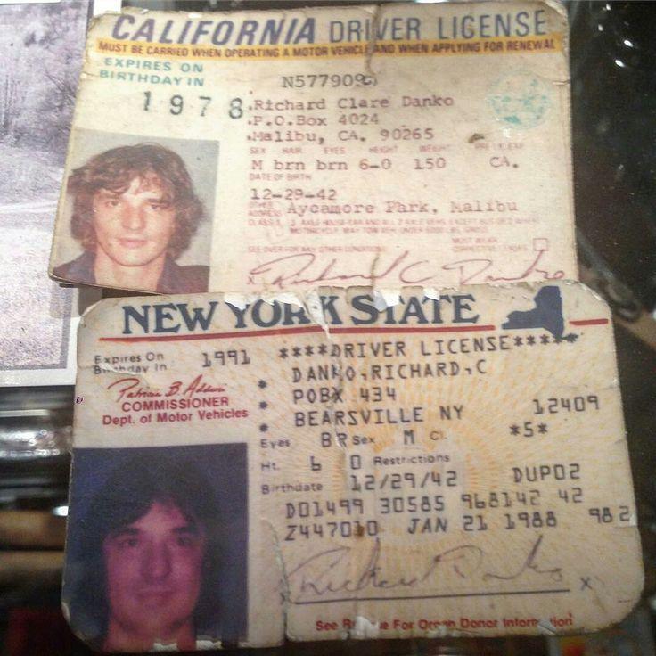 Rick Danko's driver licenses on display at The Falcon in Malboro, New York.