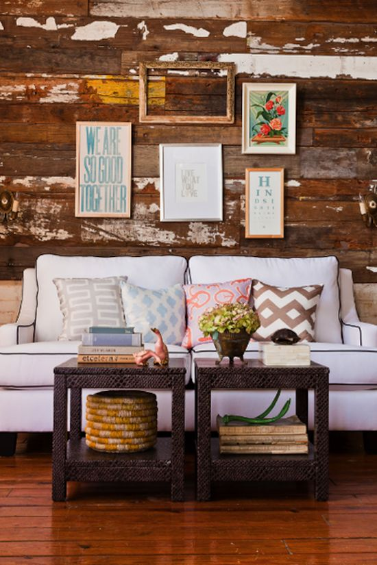 love the look of this living area...wall of wood is fantastic-so much personality!: Coffee Tables, Interior, Living Rooms, Idea, Rustic Wall, Livingroom, White Couch, Wood Walls