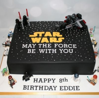 Star Wars theme birthday cake with Lego characters