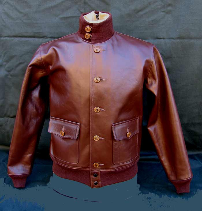 A-1 flight jacket, the A-2's predecessor.  This is a russet horsehide version by Lost Worlds.
