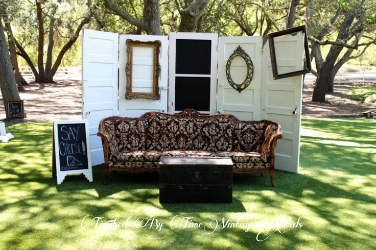 Our outdoor photo booth area by Touched by Time Vintage Rentals https://www.facebook.com/TouchedByTimeVintageRentals