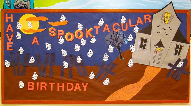 October 2012 Birthday Bulletin Board. The new board making folks did MUCH better this month. Love it!