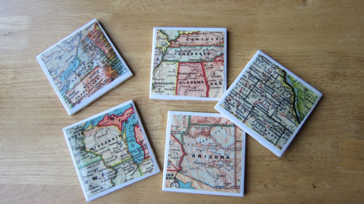 Coasters made as a gift by Me! (Marie!)  Turned out great! DIY and easy!
