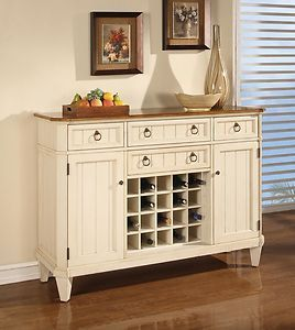 French Country Buffet Sideboard Kitchen Dining Wine Rack Storage Cabinet Cottage