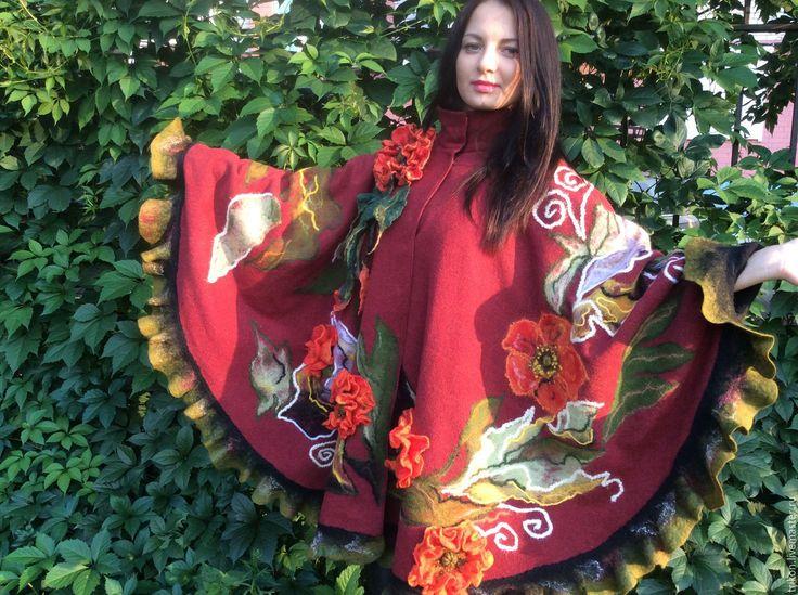 """Купить Пончо """"Живые маки"""" - коралловый, цветочный, рыжий, пончо, пальто, одежда…"""