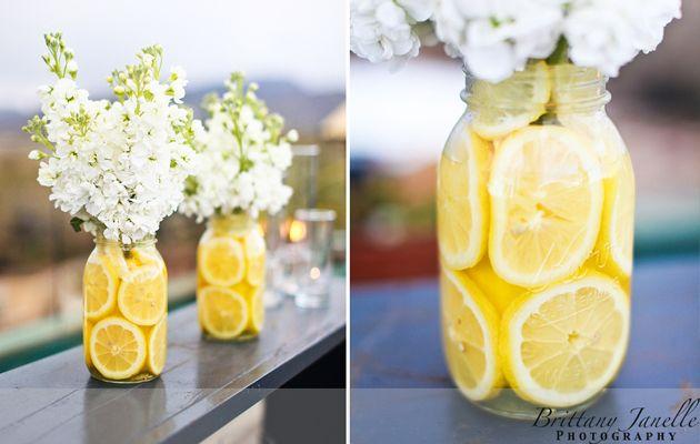 mason jar citrus centerpiece: Simple Centerpiece, Wedding Ideas, Lemon Centerpieces, Shower, Mason Jars, Flower, Party Ideas, Center Pieces