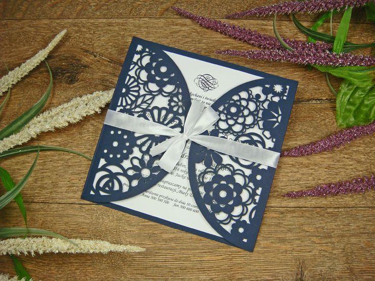 zaproszenia weselne z kolekcji Koronka z Kwiatów wzór 18