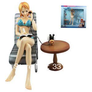 Аниме фигурки One Piece NAMI 25 см Сексуальные Игрушки ИЗ ПВХ Фигура Новый Синий Бикини с Шезлонгом Японский Аниме Бесплатно доставка