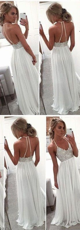 A Line Long Chiffon White Evening Gowns 2017 Spaghetti Strap Open Back Prom Dress prom,prom dress,prom dresses,prom gown,prom gowns,long prom dress