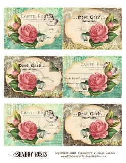 tarjetas con rosas vintage