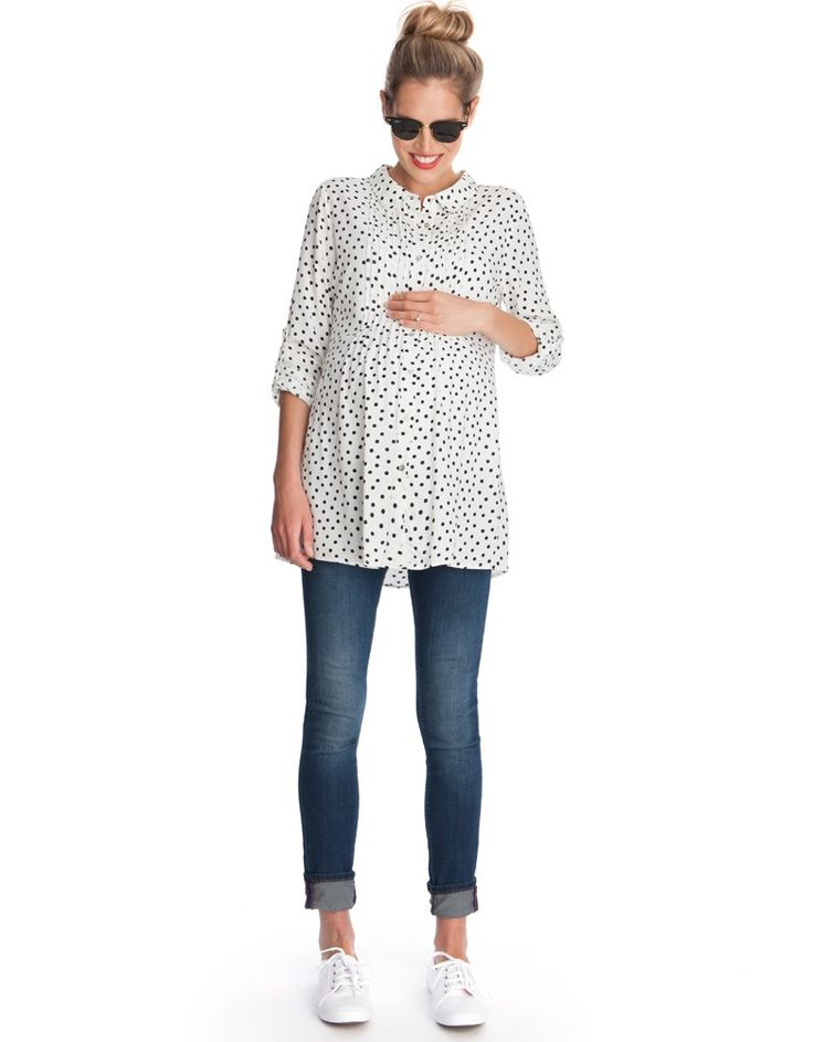 Polka Dot Button Down Maternity Blouse | Seraphine - Polka Dot Friday #mamastyle #stylethebump