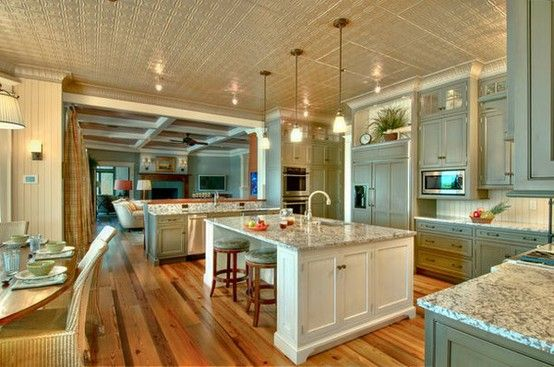 kitchens! kitchens!  kitchens!Cabinets Colors, Dreams Kitchens, Tins Ceilings, Open Spaces, Dreams House, Open Floors Plans, Islands, Kitchens Layout, Open Kitchens