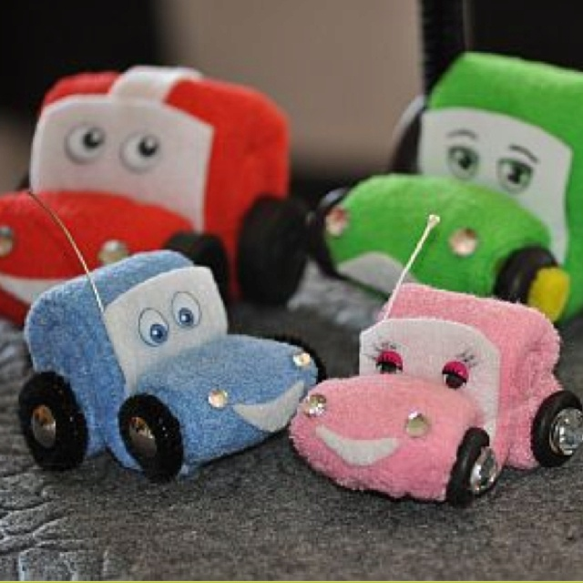 Washcloth cars  https://www.youcanmakethis.com/products/video-tutorials/washclothcarsandautomobilesinstructionalvideoandpdf.htm