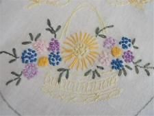 Vintage Hand Embroidered Oval Doily - Basket of Flowers & Butterflies