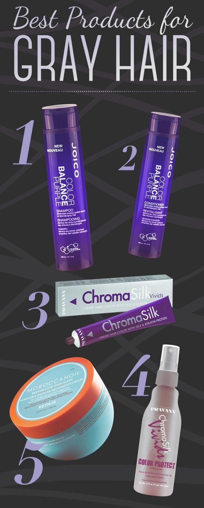 1. Joico Color Balance Purple Shampoo, $162. Joico Color Balance Purple Conditioner, $183. Pravana ChromaSilk Vivids in Silver, $31.994. Pravana ChromaSilk Vivids Color Protect Sealing Spray, $17.10 5. Moroccanoil Repair Mask, $33.99