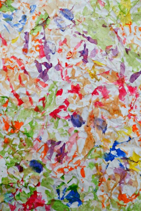 crumpled art paper, PAPIER ARTYSTYCZNY MIĘTY MALOWANY