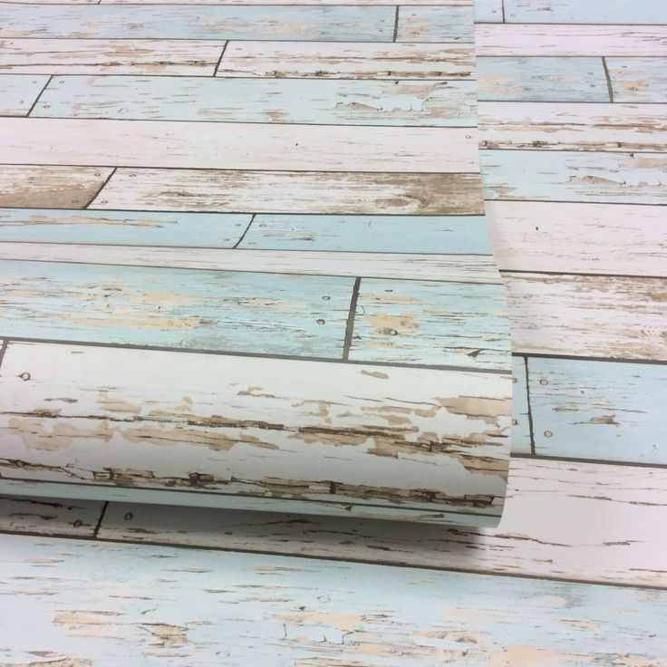 Rustic Wooden Plank Wallpaper Natural / White / Teal (ILW980072)