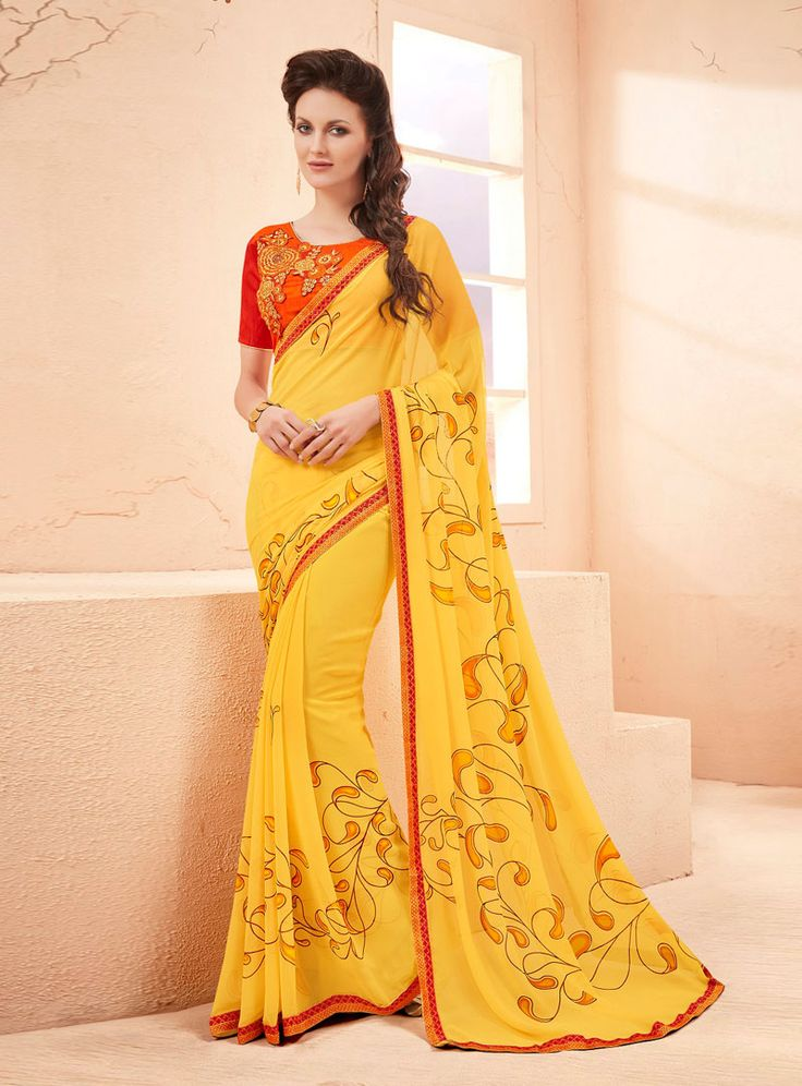 Yellow Georgette Printed Saree With Heavy Blouse 85305
