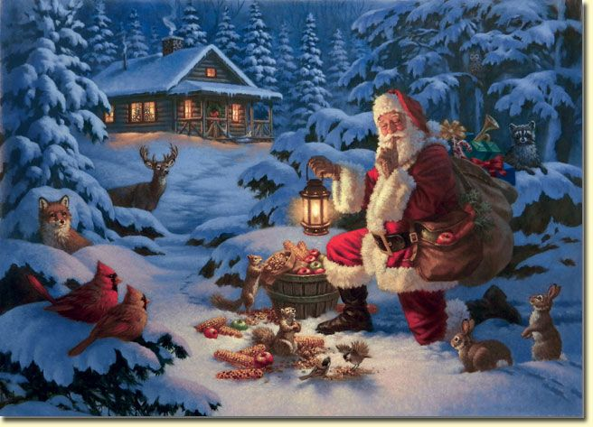 Woodland Santa by Corbert Gauthier ~ winter ~ wild animals ...