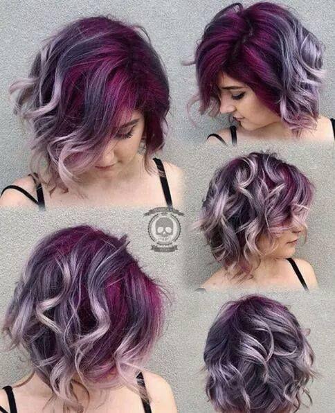 cabelo roxo mechas cinza