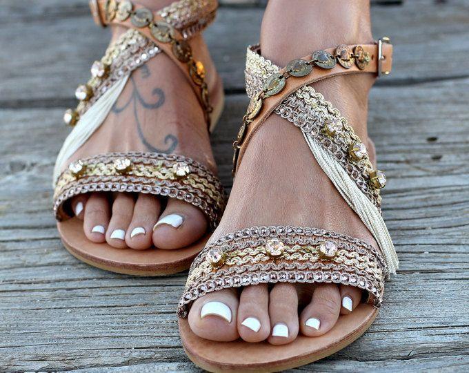 "Artisanal Leather Sandals, Handmade Greek leather sandals, Swarovski crystals, Sandals ""Cloelia"""