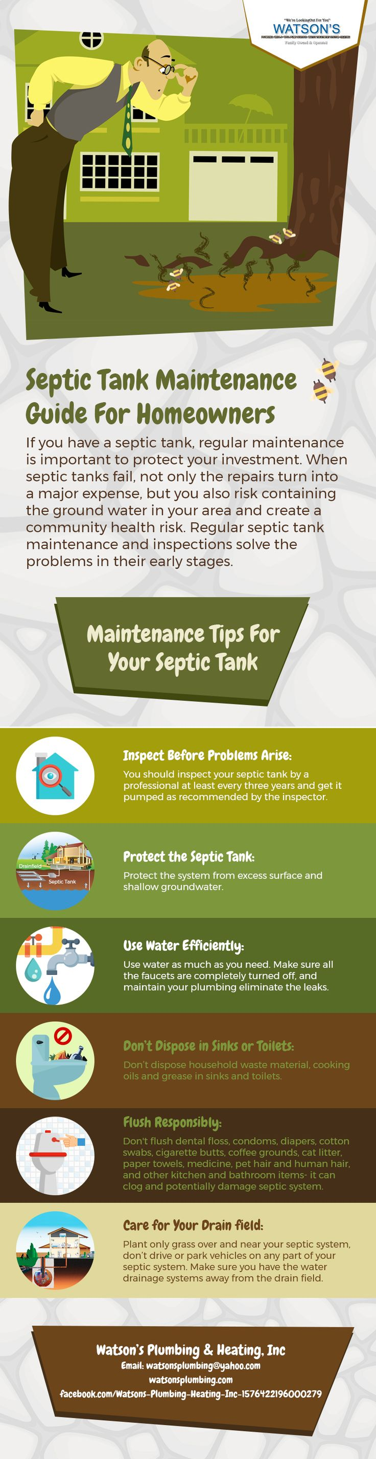 If you have a septic tank, regular maintenance is important to protect your investment. When septic tanks fail, not only the repairs turn into a major expense, but you also risk containing the ground water in your area and create a community health risk. Regular septic tank maintenance and inspections solve the problems in their early stages.