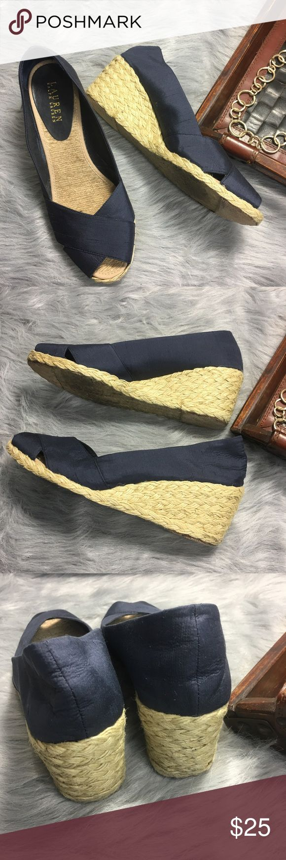 Ralph Lauren Navy Blue Cecilia Espadrille Wedge Ralph Lauren Women's Navy Blue Cecilia Espadrille Wedge Sandal Size 9.5 B  Nice pre-owned condition, light signs of wear on soles, no flaws, lots of life left! Lauren Ralph Lauren Shoes Espadrilles