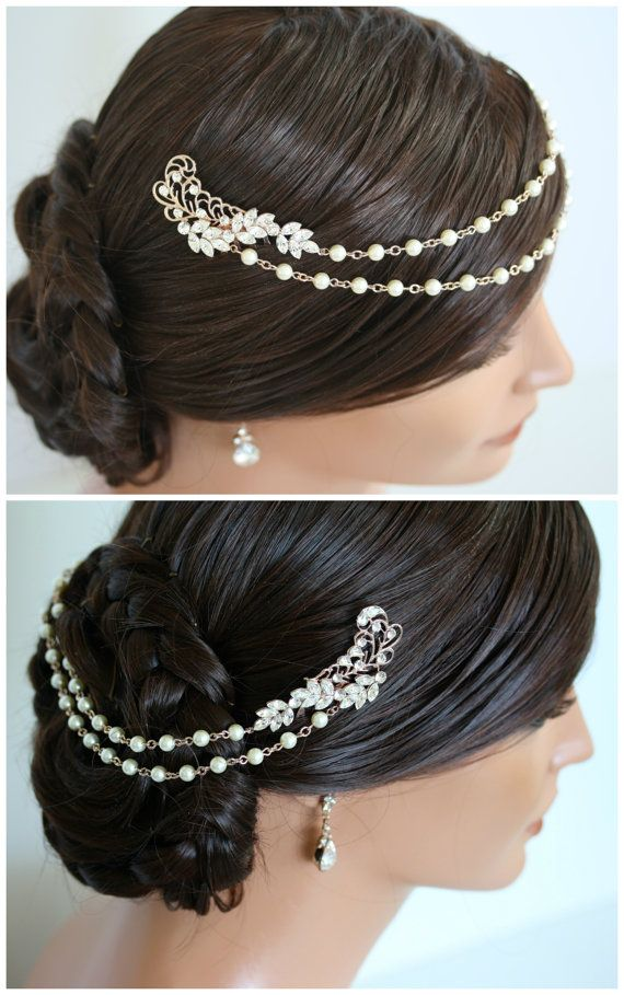Pearl Chain Headpiece Rose Gold Bridal Head Piece Pearl Chain Halo Hair Swag Wedding Hair Accessories SIAN