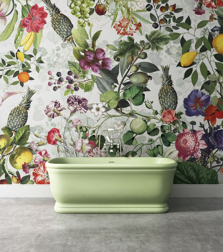Washable wallpaper with floral pattern BOTANICA - Devon&Devon I would use this in a kitchen rather than bath!