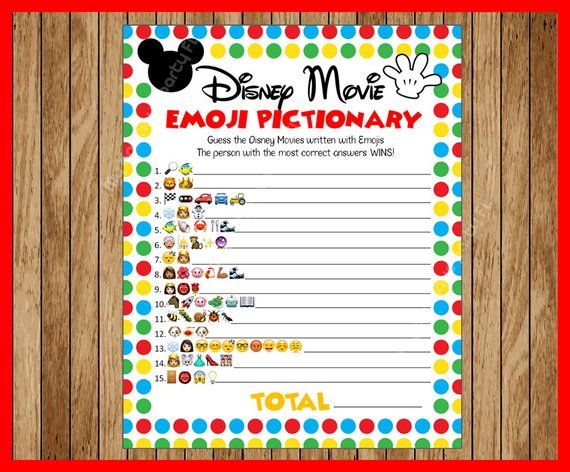 Disney Movie Emoji Pictionary Baby Shower Game Mickey Themed Answers Included Instant Download In 2020 Birthday Party Games For Kids Disney Party Games Disney Games For Kids