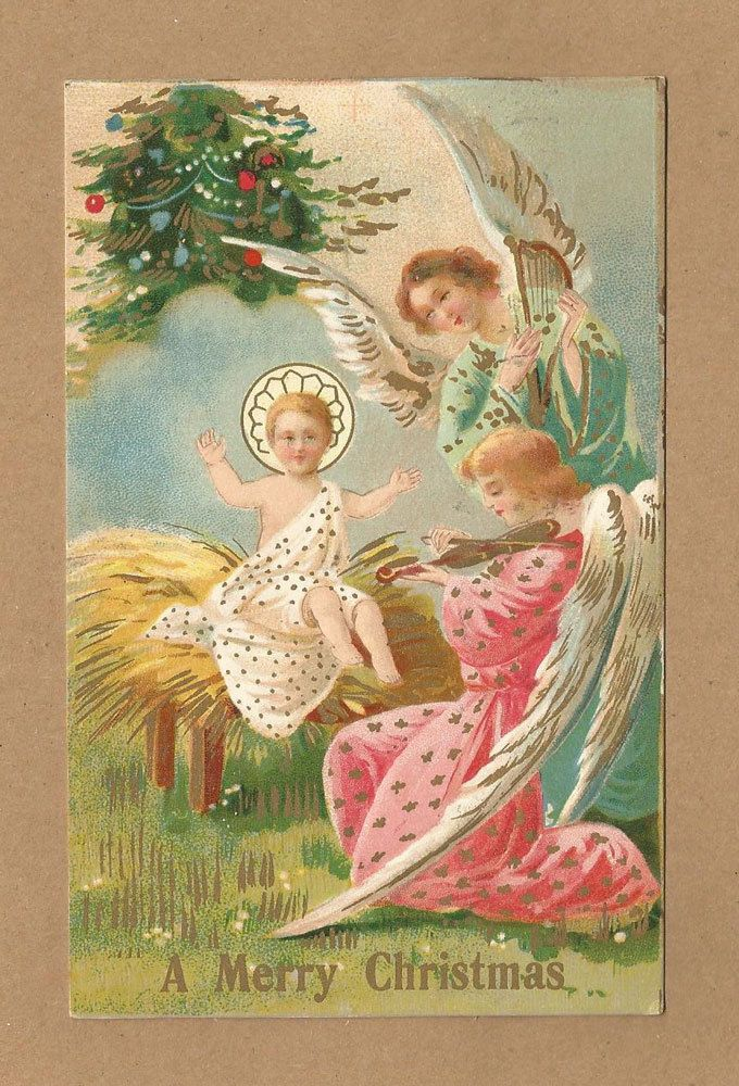 SOLD OUT - Vintage Gold Embellished Christmas Postcard, Baby Jesus & Angels Play Music #Christmas