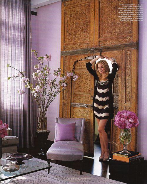 Jessica Stam's apartment, featured in Elle Decor. Decorated by Rafael de Cardenas: The Doors, Living Rooms, Shades Of Purple, Elle Decor, Jessica Stam, Interiors Design, Moroccan Doors, Colors Schemes, New York Apartment