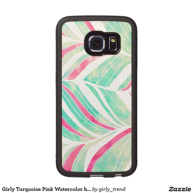 Girly Turquoise Pink Watercolor hand drawn pattern Wood Phone Case