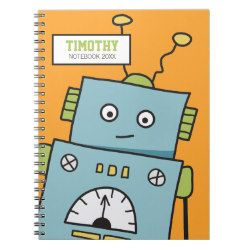 Cute Robot on Orange Personalizable Notebook