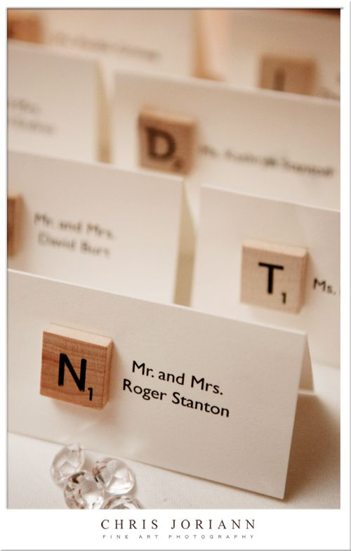Modern Navy + White Wedding by Beth Beattie Scrabble Place Cards
