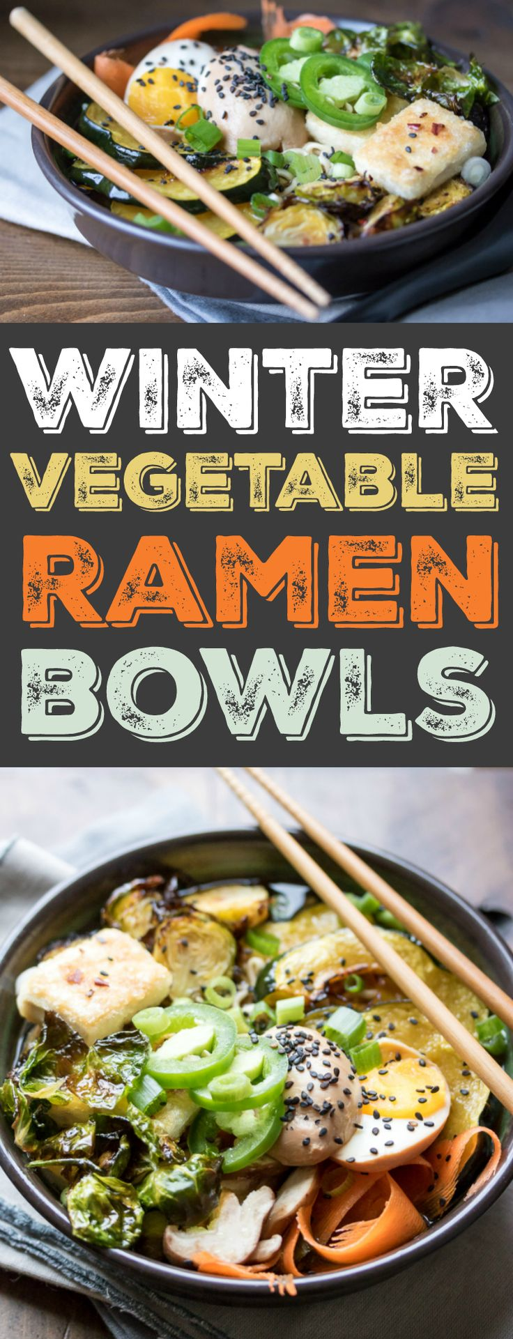 A hearty bowl of winter vegetable ramen is just the thing to warm you up! Make it on the stove top for a quick weeknight dinner, or prepare the broth in the slow cooker ahead of time (and make some soft boiled ramen eggs!)