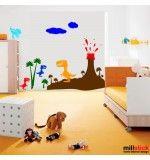 Decor pentru camera copilului dinozauri cu vulcan