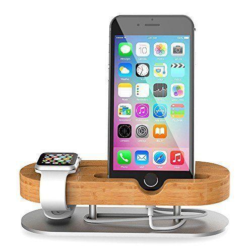 Bamboo Charger Aluminium Stand Cradle Holder For Apple Watch iPhone 38 42mm New #BambooChargerAluminiumStandCradleHolder
