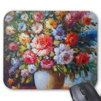 Vintage Floral Bright Country Flowers Painting Mouse Pad