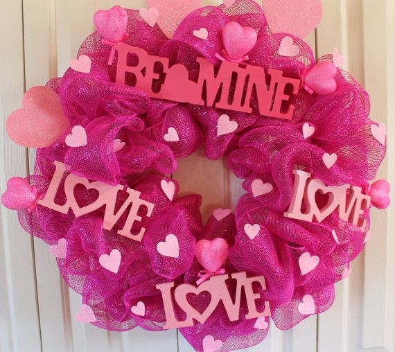 valentines mesh wreaths | Pink Deco Mesh Valentine's Day Wreath Ready to Ship. Valentine ...