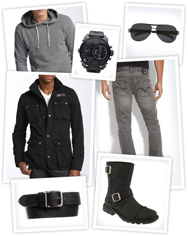 Ugg Rockville II Boot. Levi's 511 Jeans. Diesel Jidop Gabardine Military Jacket. Alternative Hoodlum Hoody. Prada Aviator Sunglasses. Bill Adler Perforated Leather Belt. Diesel Time Zone Watch