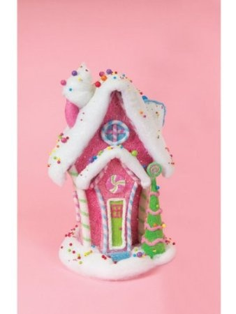 Pack Of 2 Cupcake Heaven Pink Snowy Roof Table Top Christmas Houses