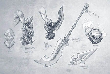 Darksiders game weapons concept art  (Pencil)