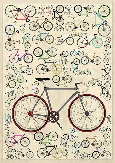 Bike Wall Art -- Love Fixie Road Bike by Andy Scullion